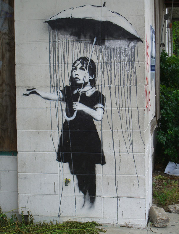 Banksy Graffiti Street Art Girl With Umbrella Lacremedesign
